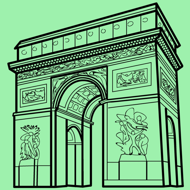 arc de triomphe illustration green