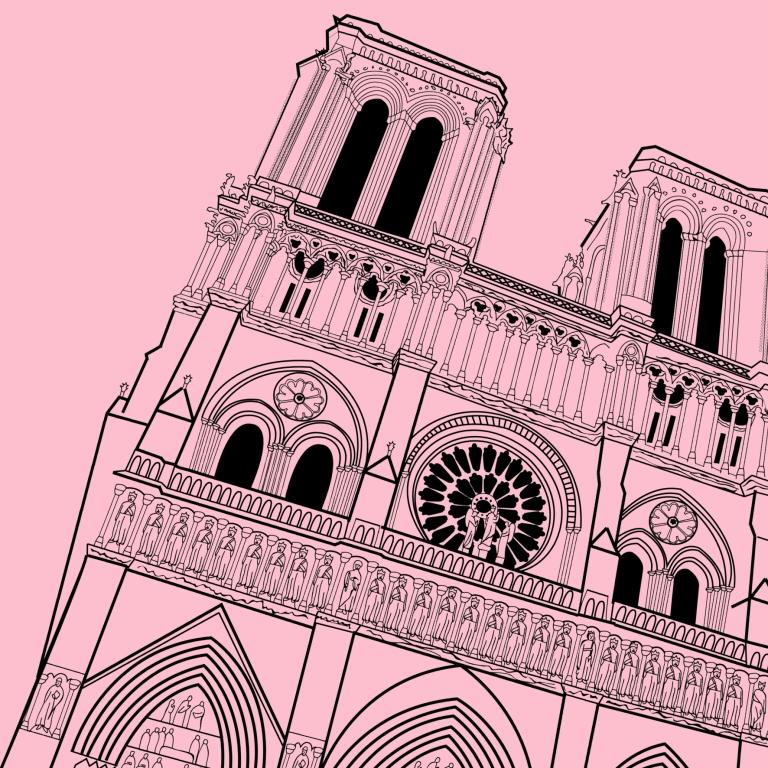 notre dame illustration pink