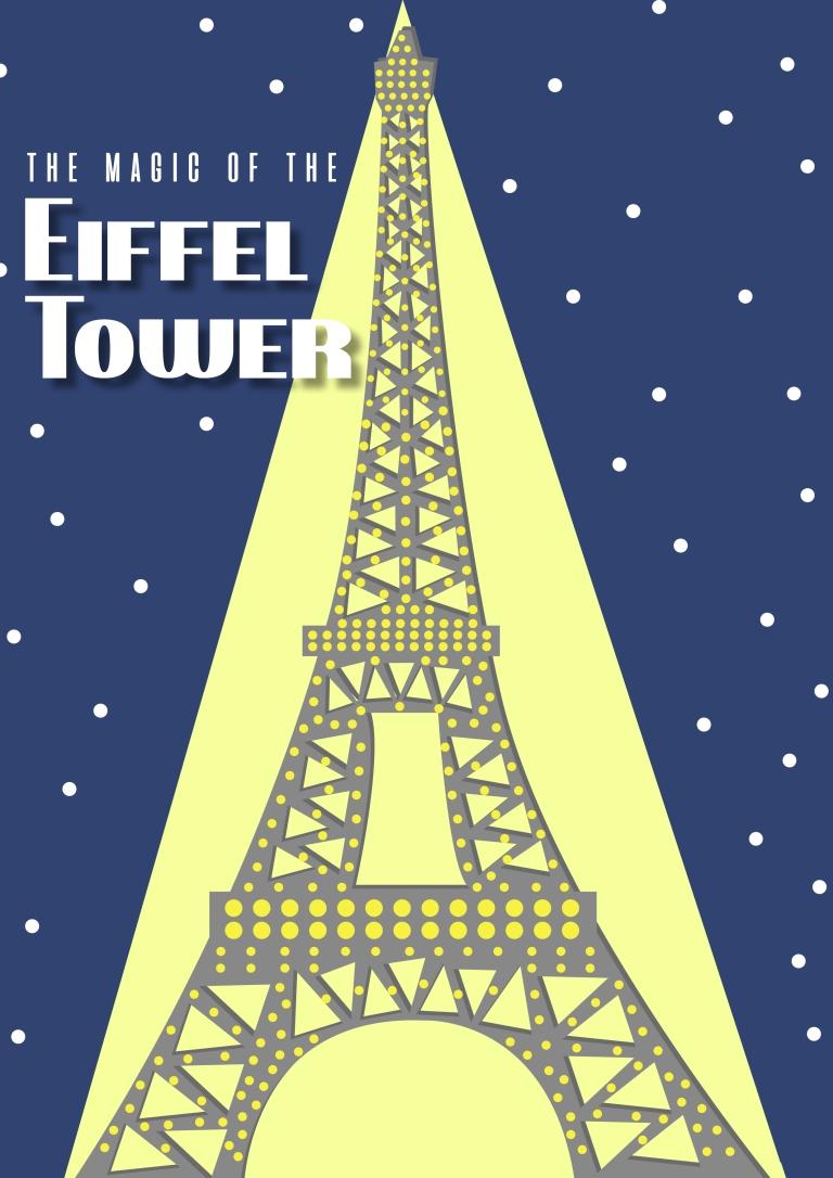 Paris Travel Poster - Eiffel Tower night